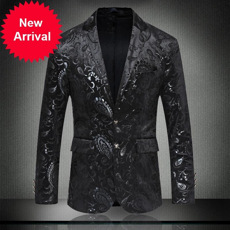 Markyi Fashion Floral Black Wool Business Blazer para Hombres 2020 A estrenar Fiesta de manga larga Blazers Homme