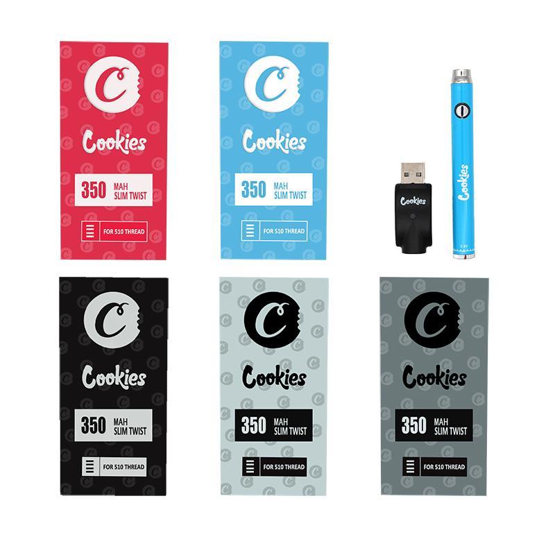 Печенье Предварительная батарея для печенья Картриджа Тележки Vape Pen 350mAh 510 Регулируемая резьба Регулируемая батарея напряжения с зарядным устройством USB