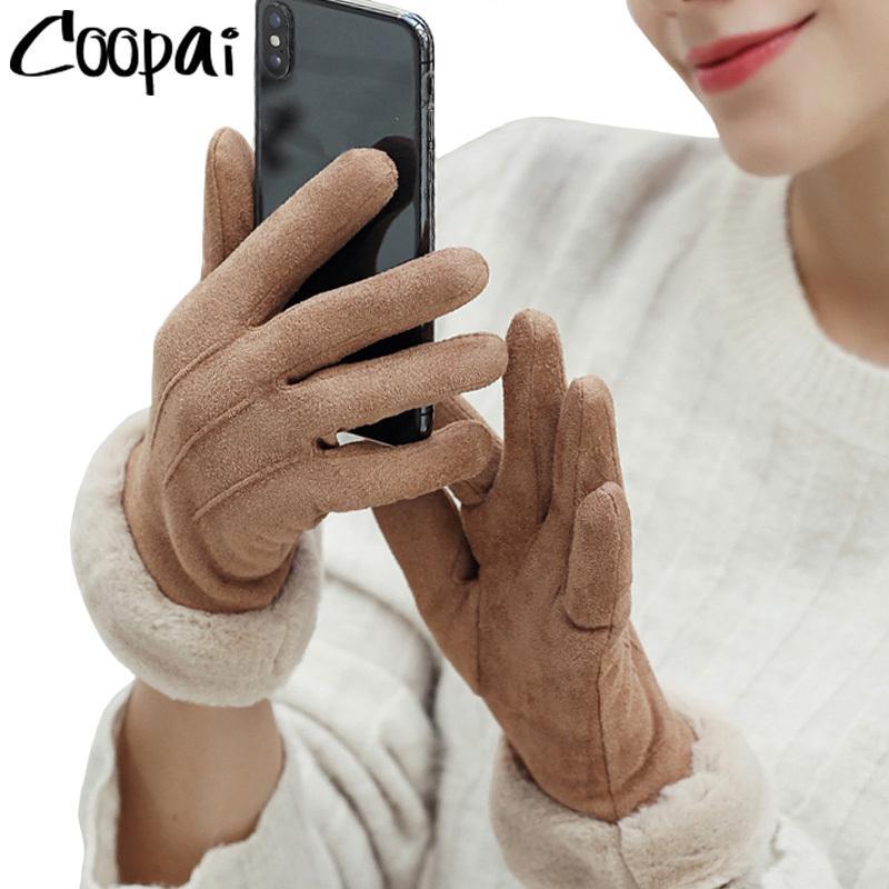 Женский сенсорный экран 2020 замшевый пушистый теплый полный палец леди зима открытый спорт вождение женщин перчатки
