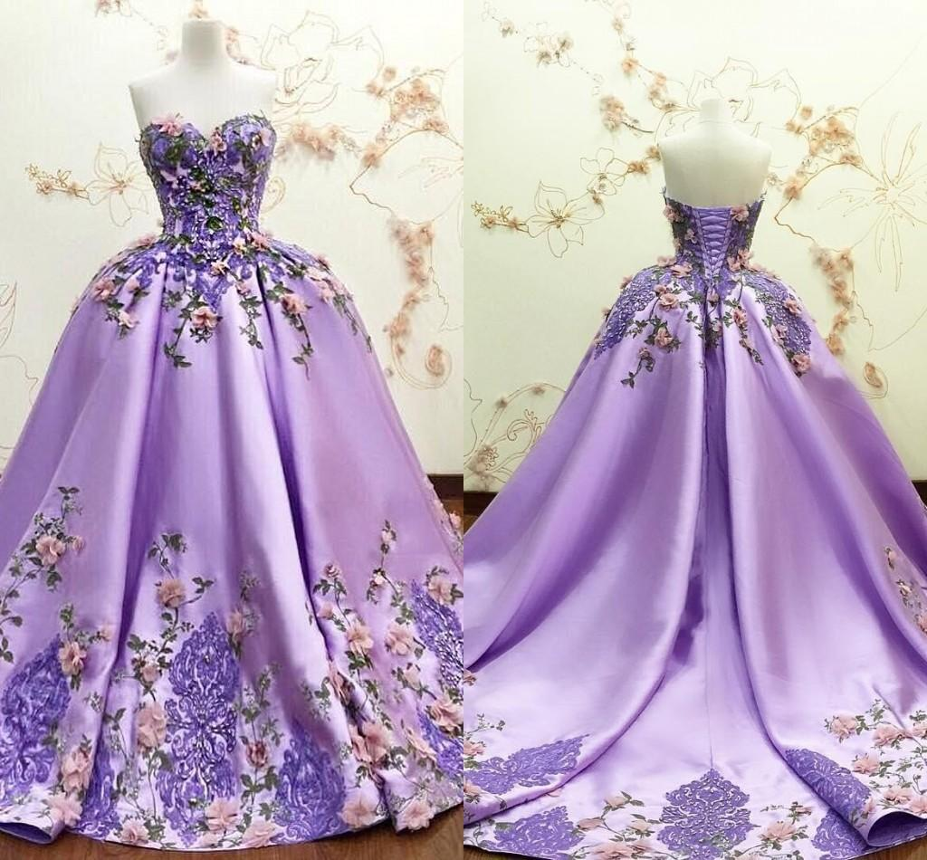 2021 Lavender Quinceanera Dresses Ball Gowns Sweet Sixteen Green Purple Embroidered Pink 3D Flowers Strapless Vintage Sweet 16 Dress Plus