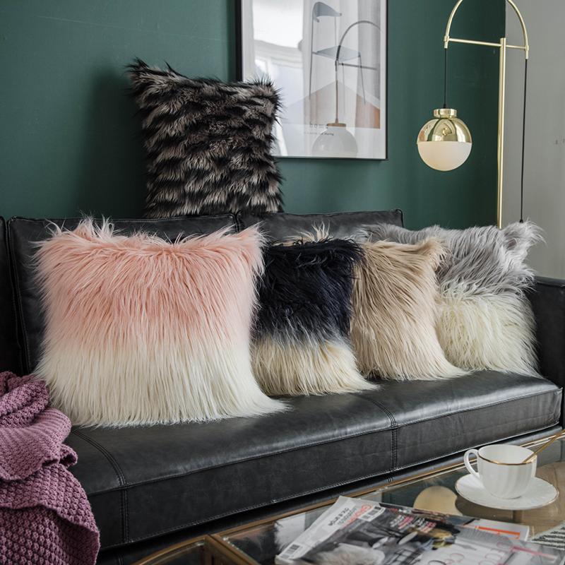 Fluffy Copertura del cuscino lungo artificiale lana Cuscino per divano Festival decorativi Federe per cuscini Ins doppio colore federa