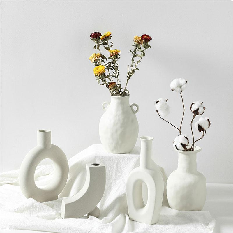 Ceramic Vase Home Decoration Ornaments White Ceramic Flower Pot Art Vases Home Decorations Crafts Gifts