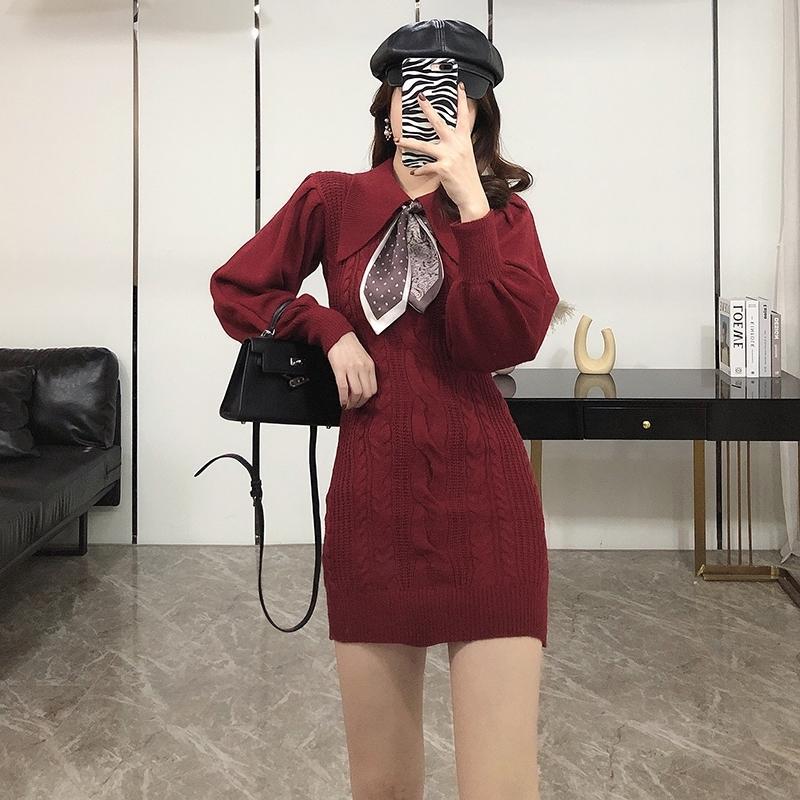 Kleid Frauen Herbst Winter 2020 neue Hepburn-Stil in dünnen Art und Weise zeigt dünner Twist gestrickte Hüfte Rock Frauen