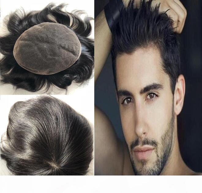 Naturel Couleur Noir # 1B Perruque de dentelle pour hommes Noirs Toupée Toupée Mens de dentelle Bas de rechange de cheveux Vierge Brésilienne Human Cheveux Pièces Livraison Gratuite!