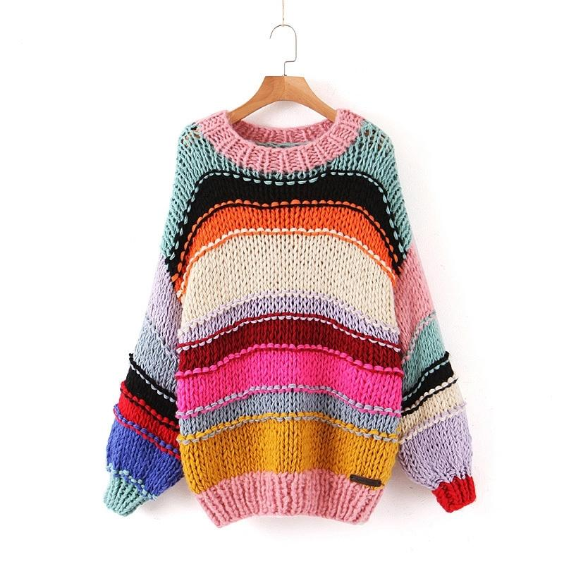 Sweet Rainbow Sweater Sweater Femmes Fashion Cou O-Cou Lâche Pulls Loose Girls Contraste Couleurs Chic Jumpers 201030