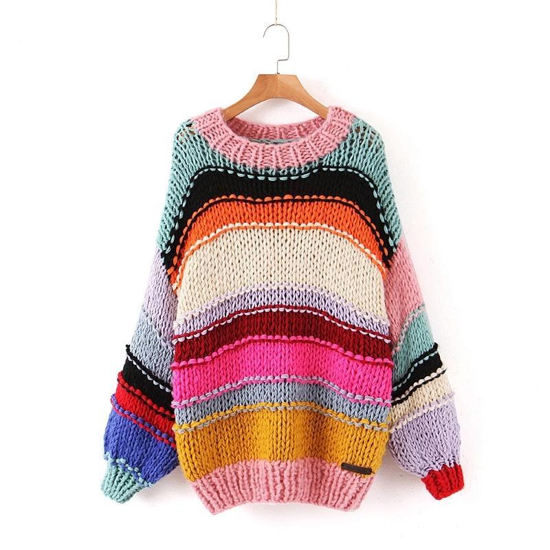Сладкая радуга полосатый свитер женщин мода о-вырела свободные пуловеры милые девушки контрастные цвета шикарные перемычки 201030