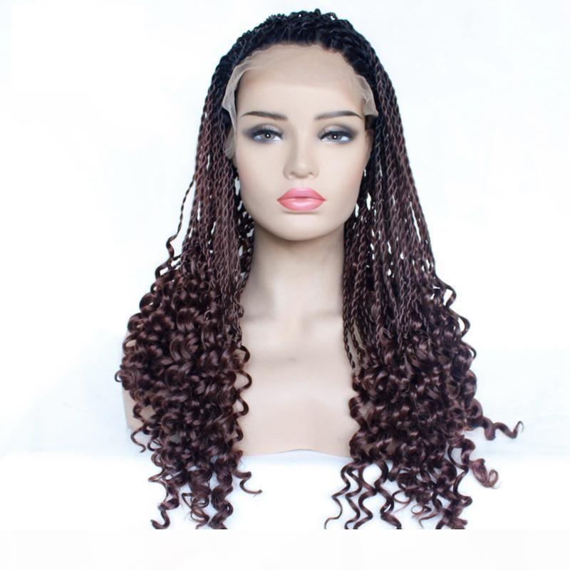 Vente en gros deux tons Twist Tresses perruques cheveux bouclés Tressé avant de dentelle perruque synthétique résistant à la chaleur fibre Glueless demi-main pour les femmes Tied