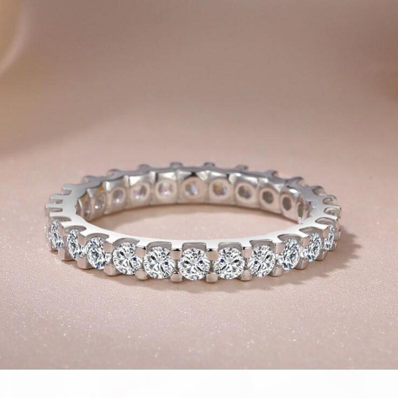 K victoria wieck jóias de luxo real 925 prata esterlina plena rodada corte branco safira cz diamond gemstones eternidade mulheres faixa de casamento