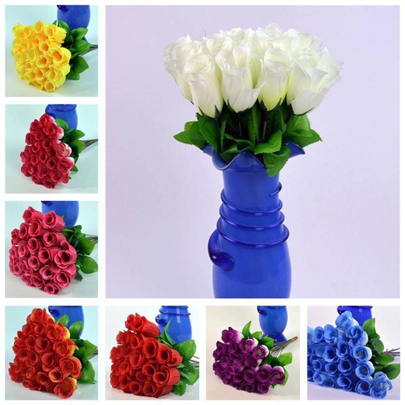 "NEW 100pcs 30cm/11.8"" Length Artificial Wedding Single Rose Flower Decorative Flower 8 Colors Available Z1119"