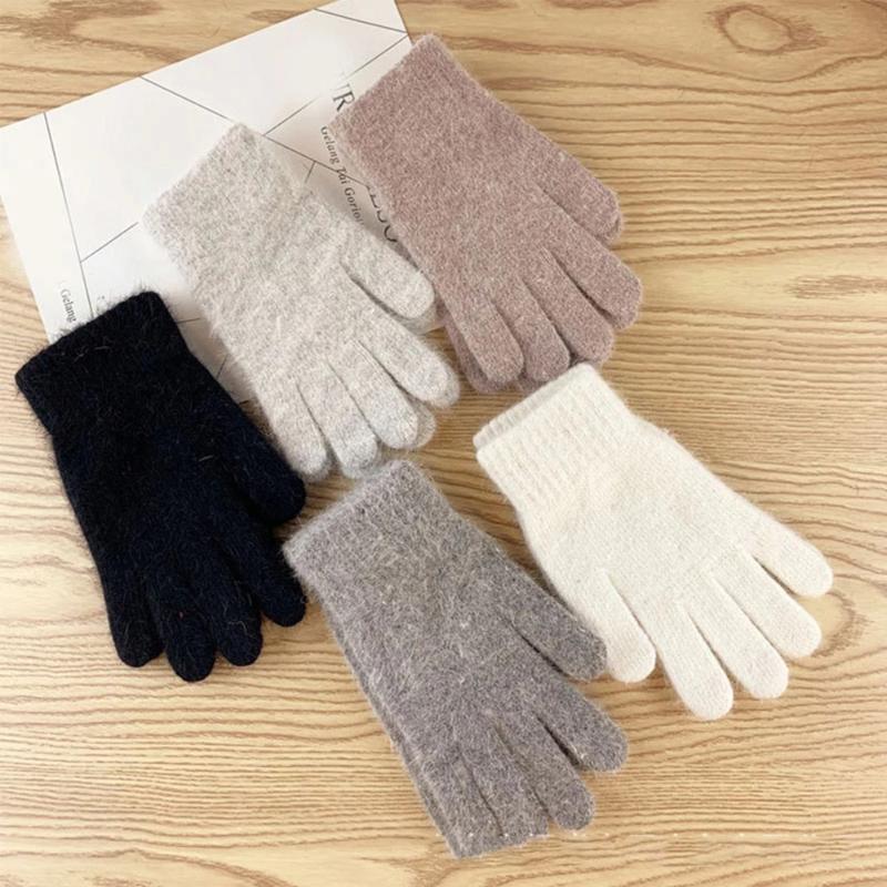 Modische Damen Winter Wolle gestrickte Handschuhe Herren verdicken Plus Velvet Elastic Vollfinger einen.Kreislauf.durchmachentreibende warme Handschuhe