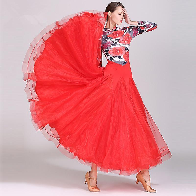 Сценическая одежда 2021 красный серый бальный танец соревнования платья стандартные спандекс юбки