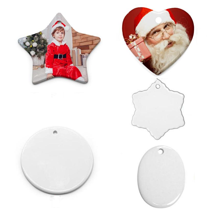 DIY sublimação em branco cerâmica pingente cerâmica artes e artesanato ornamento coração redondo decoração de Natal dia dos namorados da mãe do pai