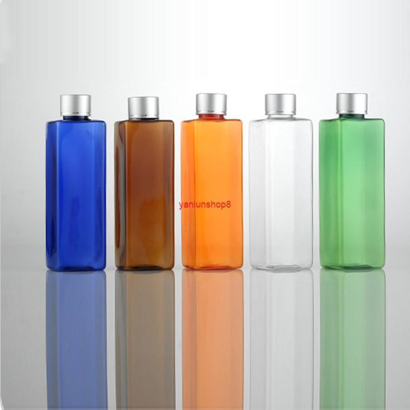 250 ml x 40 quadrado vazio colorido frascos de viagem de plástico embalagem com tampa parafuso, 8.5oz pet composição de petróleo para cosméticos