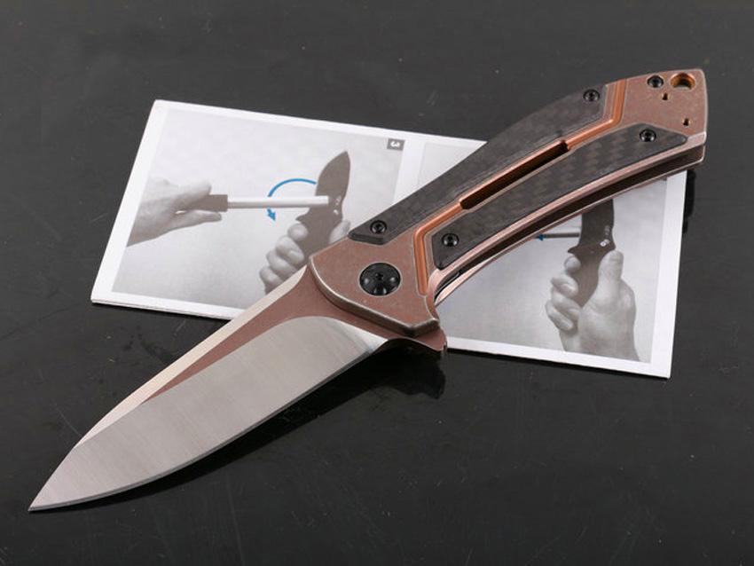 0801cf Flipper Klappmesser M390 Satin Blade TC4 Titan Legierung + Kohlefasergriff Kugellager System EDC Messer