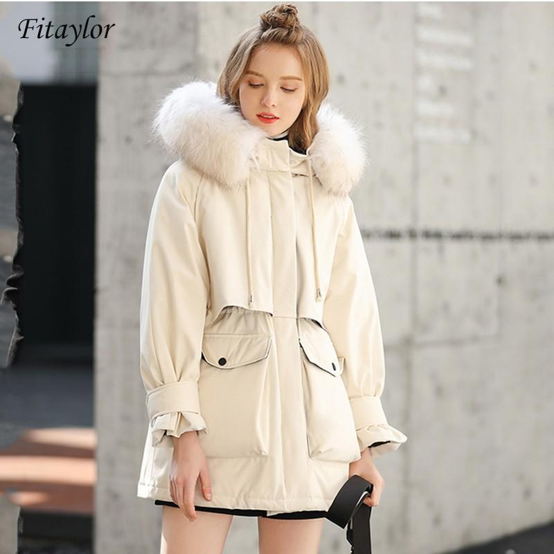 Fitaylor Winter Jacket Women 90% White Duck Down Hooded Parkas Large Faux Fur Collar Warm Coat Snow Outwear 210203