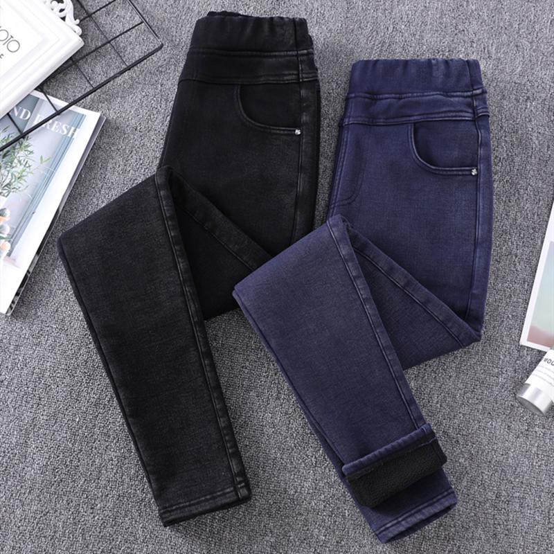 Jeans de invierno Mujeres espesar más Tamaño Talla gruesa Flores Grande Tal Tall Stretch Denim Potlead Broek 6XL