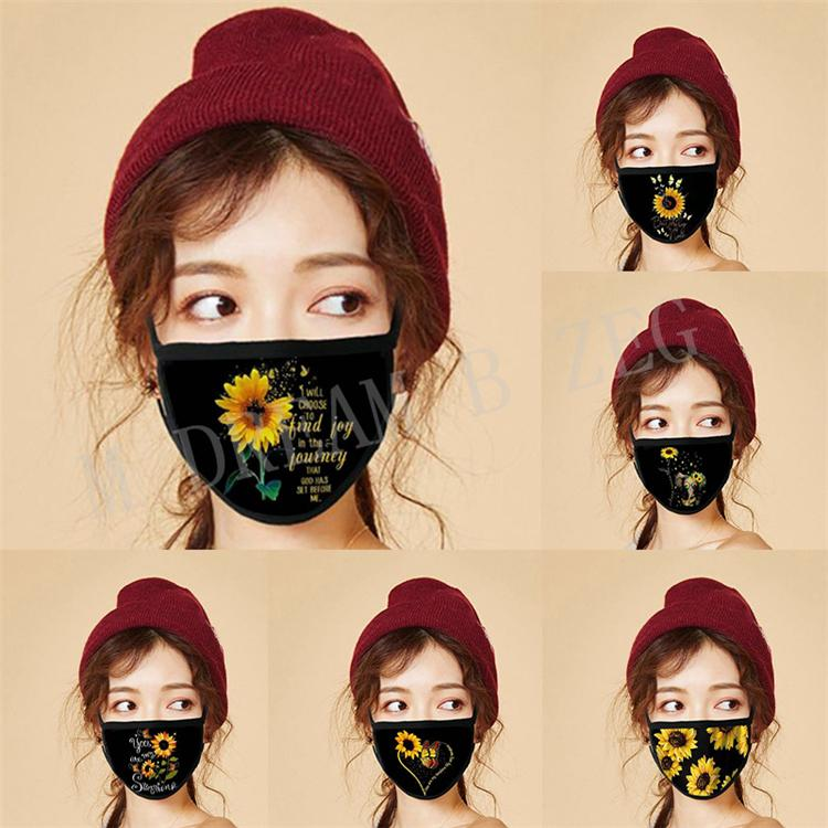 Ayçiçeği Dijital Baskı Yüz Maskesi Moda Tasarımcısı Maske Kullanımlık Yıkanabilir Facemask Toz Geçirmez Ağız Maskeleri Parti Maskeleri