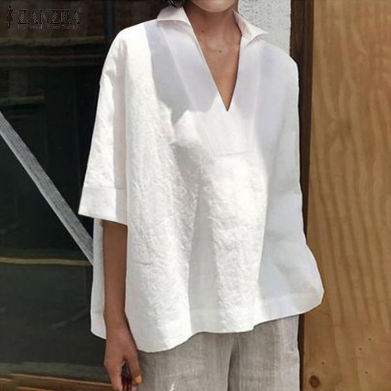 Zanzea 2021 Plus Casual Chemiser e Blusas Camisetas Mulheres Sólidas Senhoras Solta V Moda Blusas Algodão Túnica Tops Mujer Neck Tamanho Ndmmv