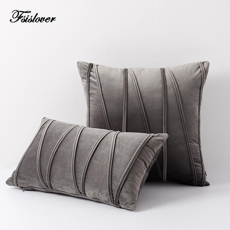 FSISLOVER 2020 Luxo Nordic Sofá Sofá Pillowcase Listrado Sofá De Pelúcia Capa de Almofada de Almofada Decoração Travesseiro Capa Tassel Funda Cojin