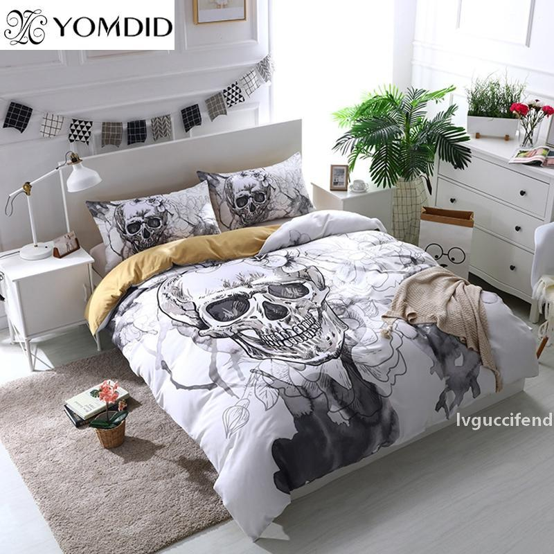 Halloween 3Pcs Bedding Sets Home Textile Twin Queen King Size of Duver Cover Set Skull Pillowcase Bedclothes Printed Bedding Set