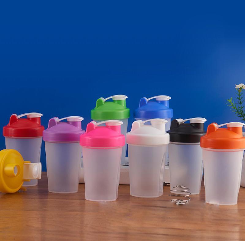 400 ml botella deportiva coctelero mezclador botella de plástico agitador botella deportes fitness fugas a prueba de fugas botellas de agua kKA7011-1