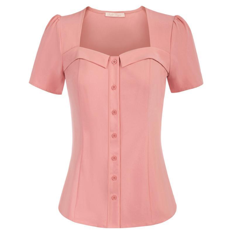 Casas Camisas de las mujeres Camisa del cuello de las mujeres Camisa de manga corta Curved Hem Button Tops Tops Slim Fit Color Sólido Retro Lady Blusa Nuevo