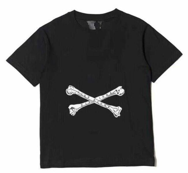 18ss черный с коротким рукавом Tee мужская половина рукава футболка вскользь с круглым вырезом хлопок с короткими рукавами US Размер S-XL