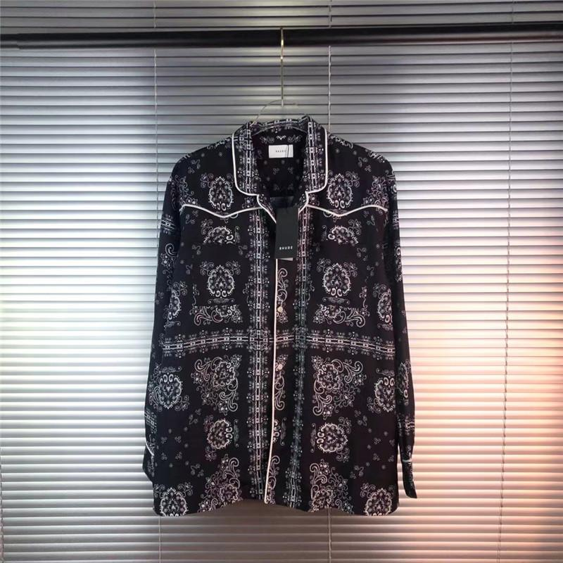 Langarm Rhude Hemd Männer Frauen 1: 1 Hochwertige Cashew-Blume Biged T-Shirts Rennhügel-Hemden Gestreiftes Hemd Männer Kleidung C1210