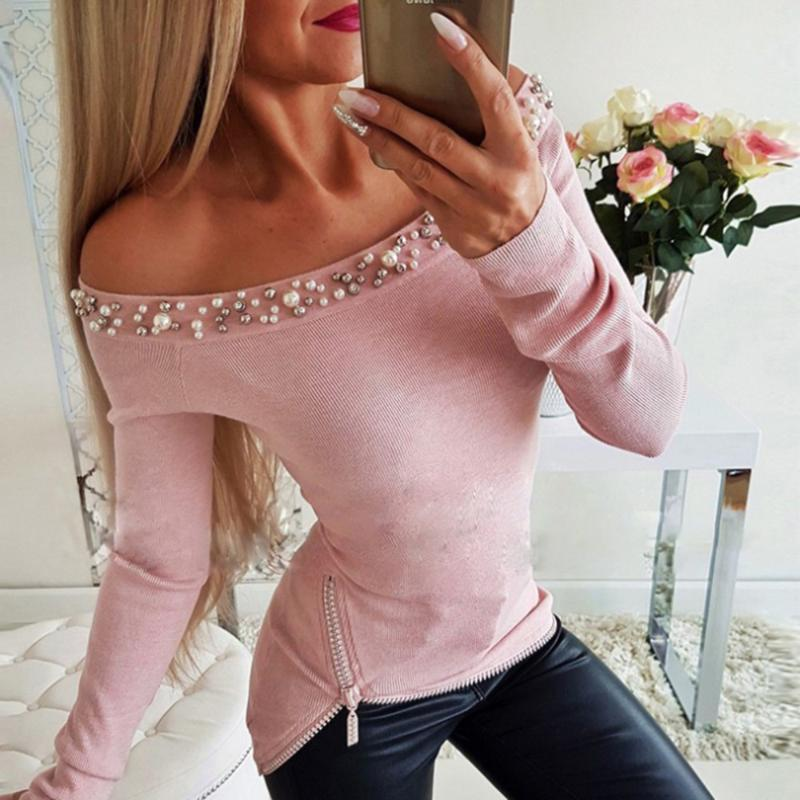 2020 New Women's Off Shoulder Blouse Autumn New Beaded Slim Long Sleeved Blouse Solid Design Zipper Fashion Ladies Tops