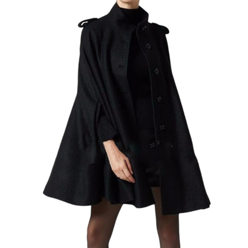 Mujeres negro lana capa abrigos botón suelto casual ponchos moda otoño otoño 2021 oficina damas abrigo top abrigo mujer lana de mujer