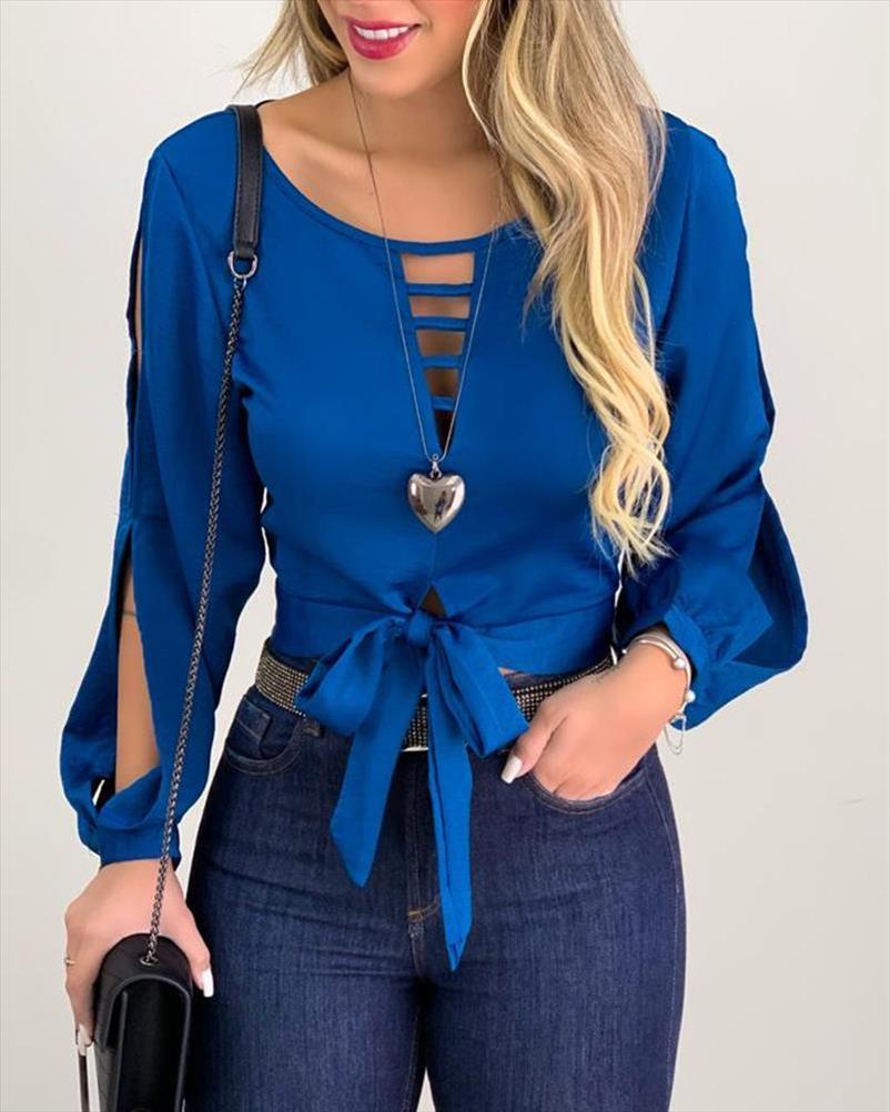 2020 donne moda elegante camicia casuale scava fuori maniche lunghe Camicetta Donna Solid Bow Tie design frontale Scontornabile Top