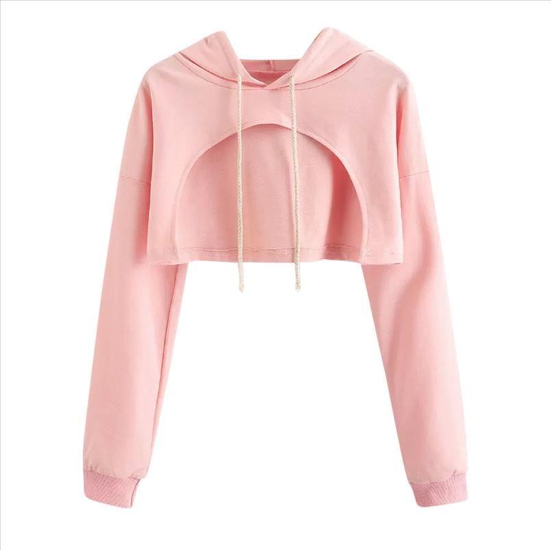 Hoodies Sweatshirt Frauen 2020 Frauen Casual Drop Shoulder Crop Hoodie Top Bluse Drop Shipping