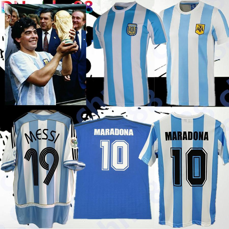 Beste Qualität auf Lager 1978 1986 Argentinien Maradona 1996 Fussball Jersey Retro Version 86 78 Maradona Caniggia Quality Football Hemd Batistuta