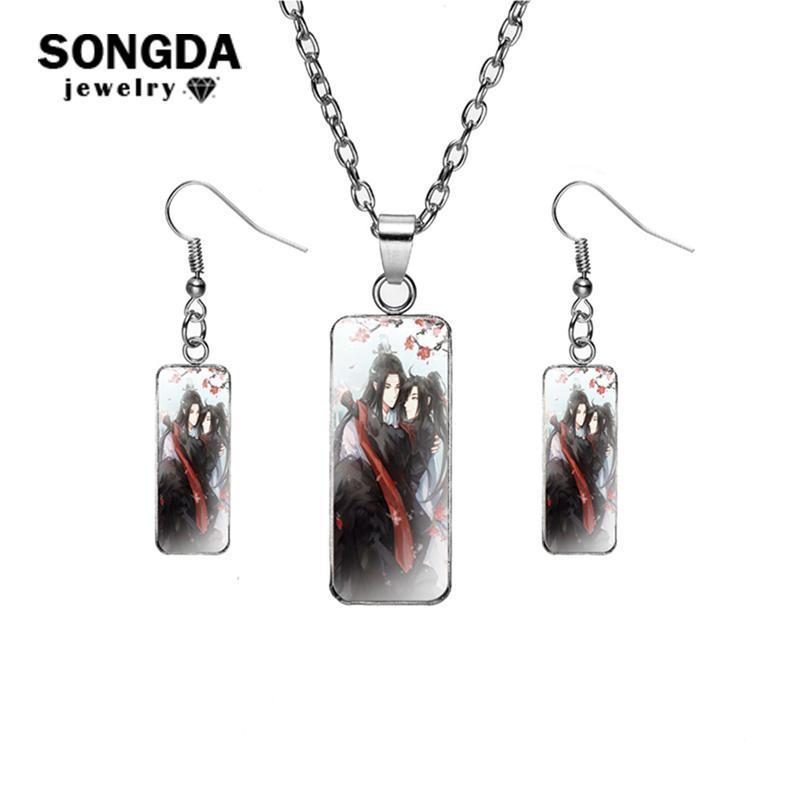 Pendientes Collar Songda Joyería Establecer el Mo Dao Zu SHI Collares Collares para Mujeres Rectangular Glass Cabochon PO PENDIENTE REGALO