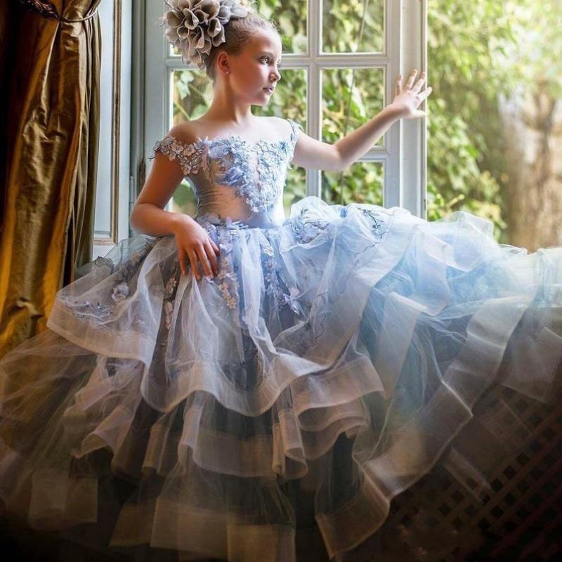 푸른 꽃 소녀 드레스 결혼식 레이스 아플리케 꽃 떨어져 어깨 껍질 여자 여자 미인트 드레스 생일 댄스 댄스 파티 아이 communion 가운