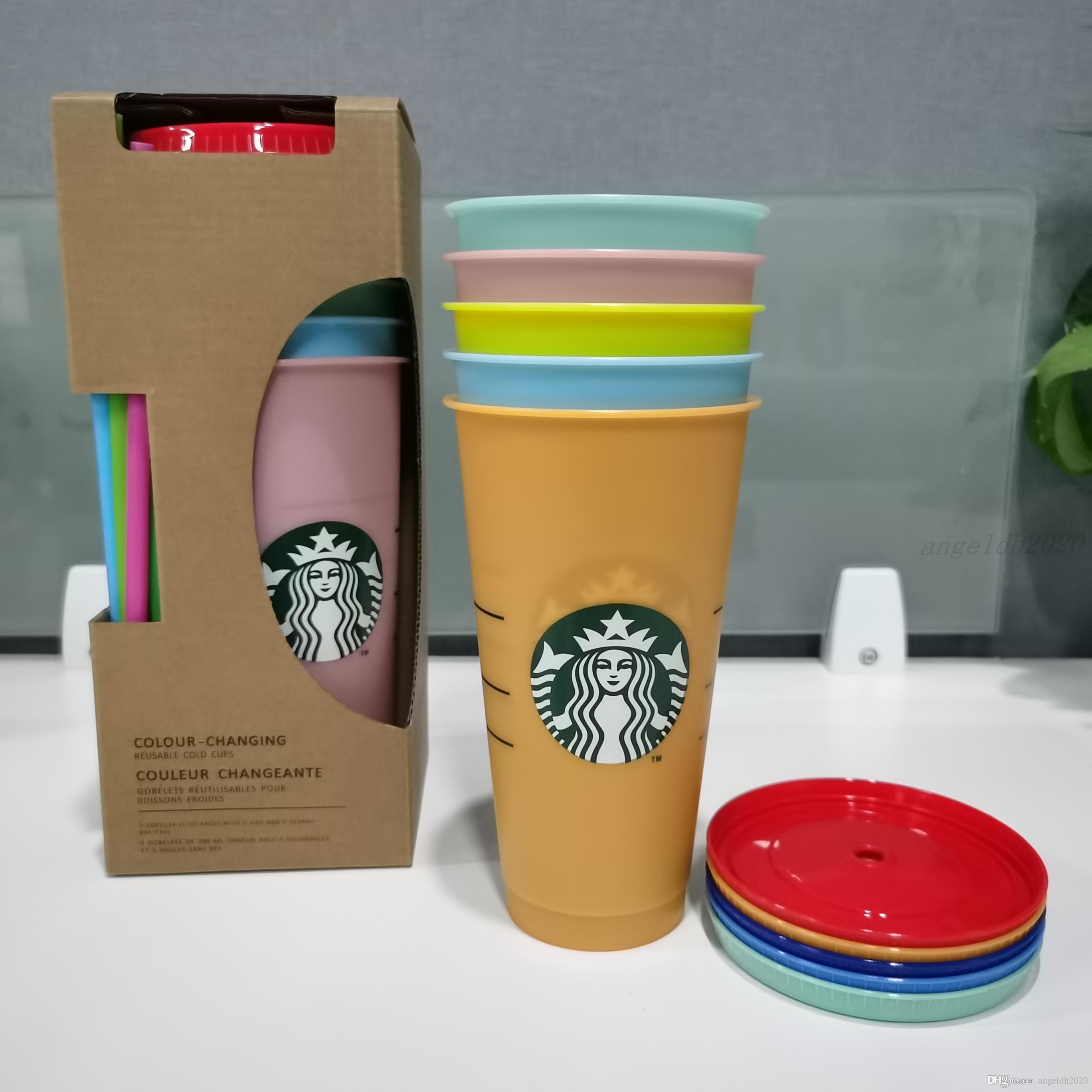 24z / 710ml Tumbler Wiederverwendbare Farbveränderung Trinken Flacher Becher Säulenform Deckel Stroh Becher Starbucks Farbwechsel Plastikschale