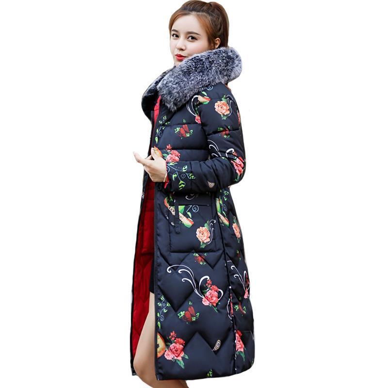 Parkas bajas de las mujeres Dos lados se pueden usar 2021 Llegada Mujeres Chaqueta de invierno con piel con capucha con capucha Largo Acolchado Abrigo Femenino Outwear Imprimir Parque