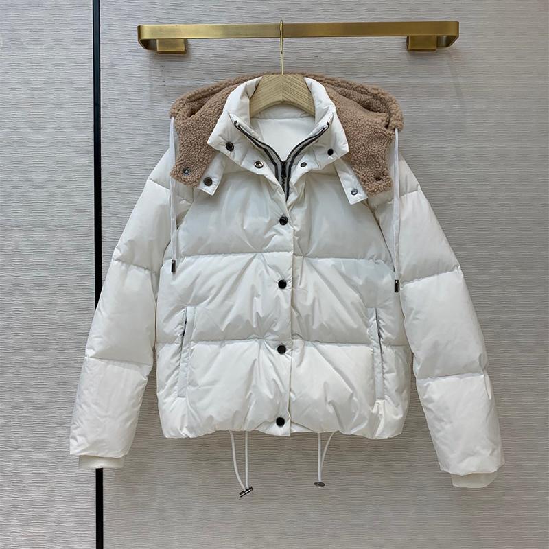 Grand Designer Daunenmantel für Frauen Hohe Qualität 90% Weiße Ente Daunen Langarm Hut Abnehmbarer Mantel für Dame 2020 Winter Q1209