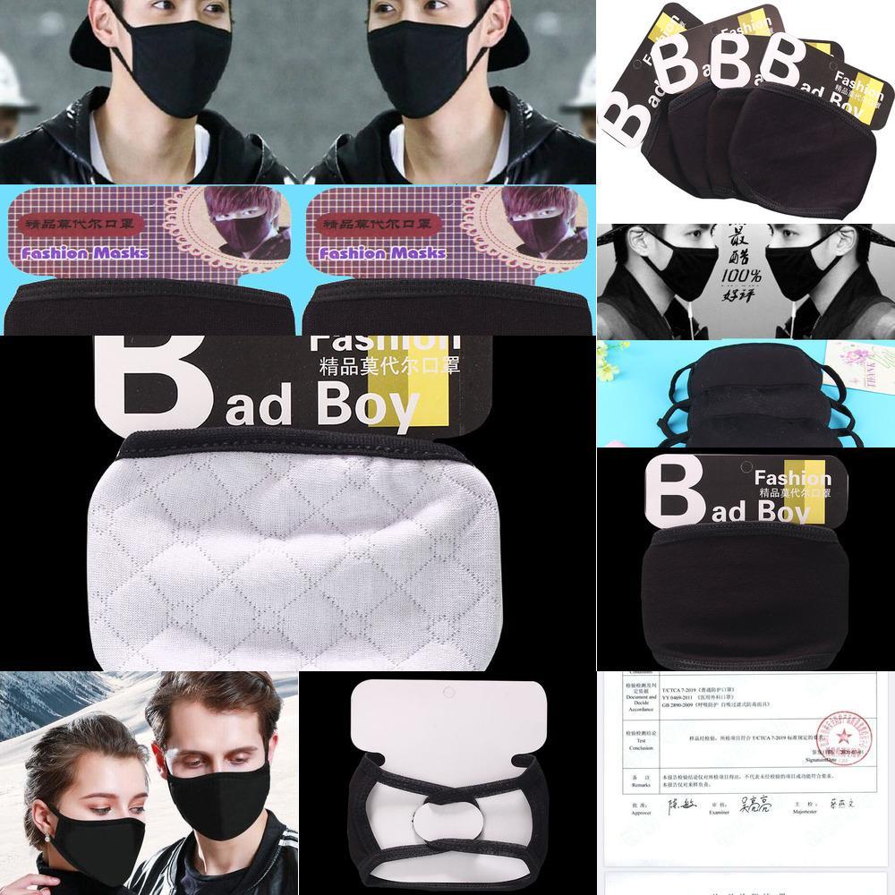 Черные двойные маски для лица в дизайнер моющийся многоразовый запас! Модный слой ткань маски хлопка защита от пыли защитный MW1