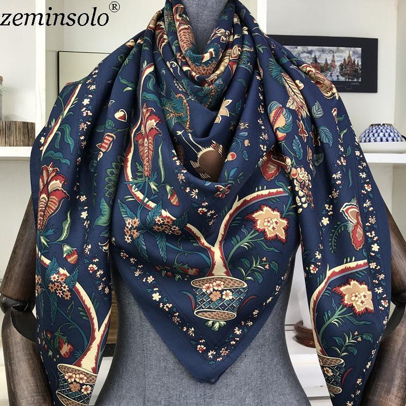 الأوشحة 100٪ حك الحرير وشاح مربع 130 * 130 سنتيمتر تصميم طباعة منديل المرأة الرقبة شال يلف ecarpe الحجاب