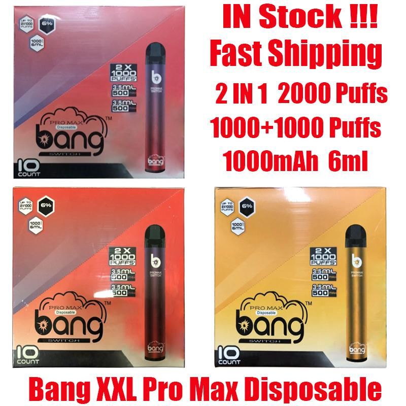 Bang XXL Pro Max Interruptor Dispositivo Dispositivo Dispositivo Vape 2 em 1 6ml Pods 2000 Puffs 1100mAh Bateria XXTRA Double Pen para Puff Flex Ezzy Super