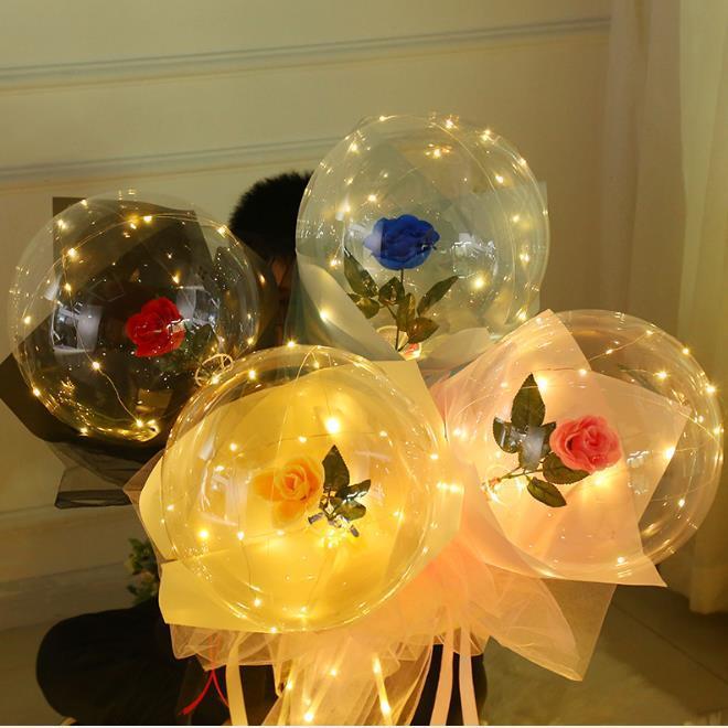 FAI DA TE Valentine's Day Led Rose Bobo Ball luminoso Bouquet Balloon Balloon 20 pollici Valentino regalo Confessione proposta