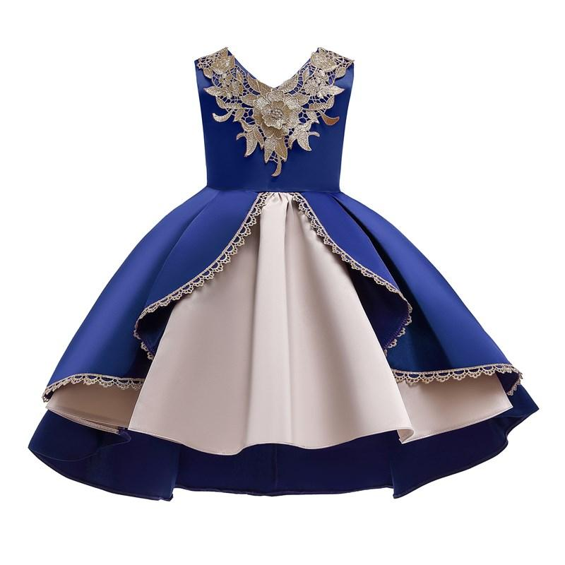 Cordón sin mangas niños Pageant Flower Girl Vestido niñas niñas fiesta boda formal vestidos largos