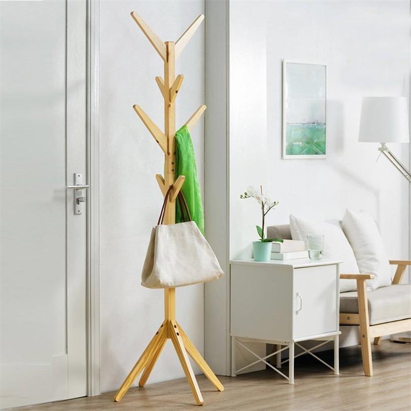 8 ganchos de madeira sólida piso de revestimento de piso de revestimento casa de armazenamento de mobília de casa pendurado cabide de madeira cabide de secagem de quarto 201218