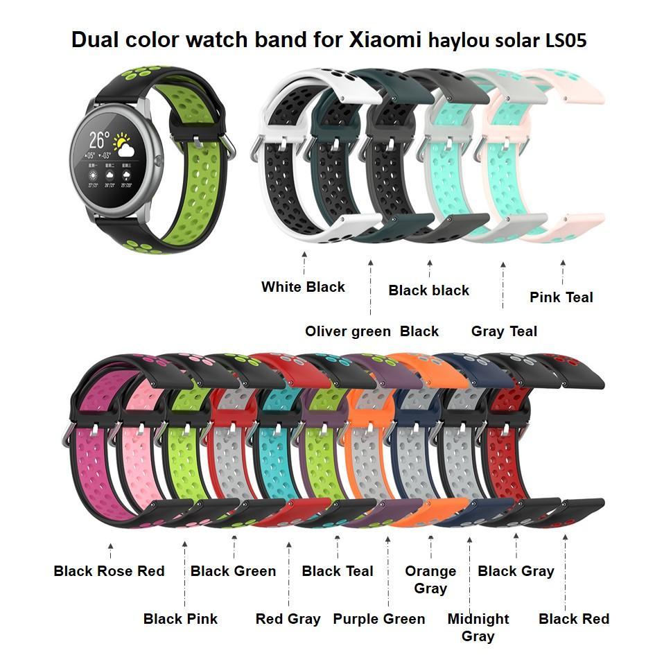 Banda de correa de silicona de doble color para Xiaomi Haylou Solar LS05 pulsera inteligente pulsera Nuevos accesorios de silicona transpirables