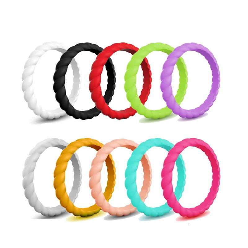 10 color/Lot Women Wedding Silicone Band Rings Solid color Twisted Flexible Comfortable pinky finger Ring Men Engagement Jewelry Bulk 307 G2