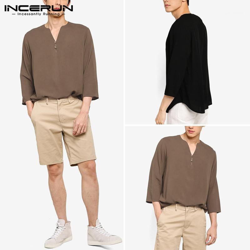 Incerun hombres de color sólido camisas casual 3/4 de manga en v cuello camisa suelta hombre vintage algodón blusa moda elegante blusa s-5xl1