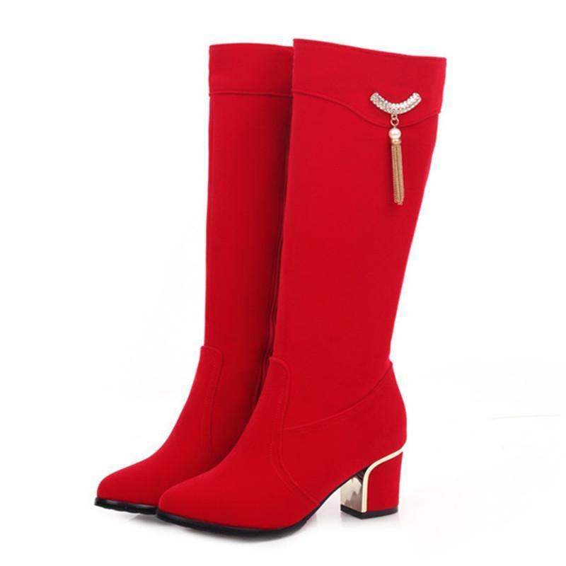 При осени зимой колено чернокожих женщин красный повседневная высокая роскошь низкие каблуки длинные сапоги мода женские вечеринки обувь GW53