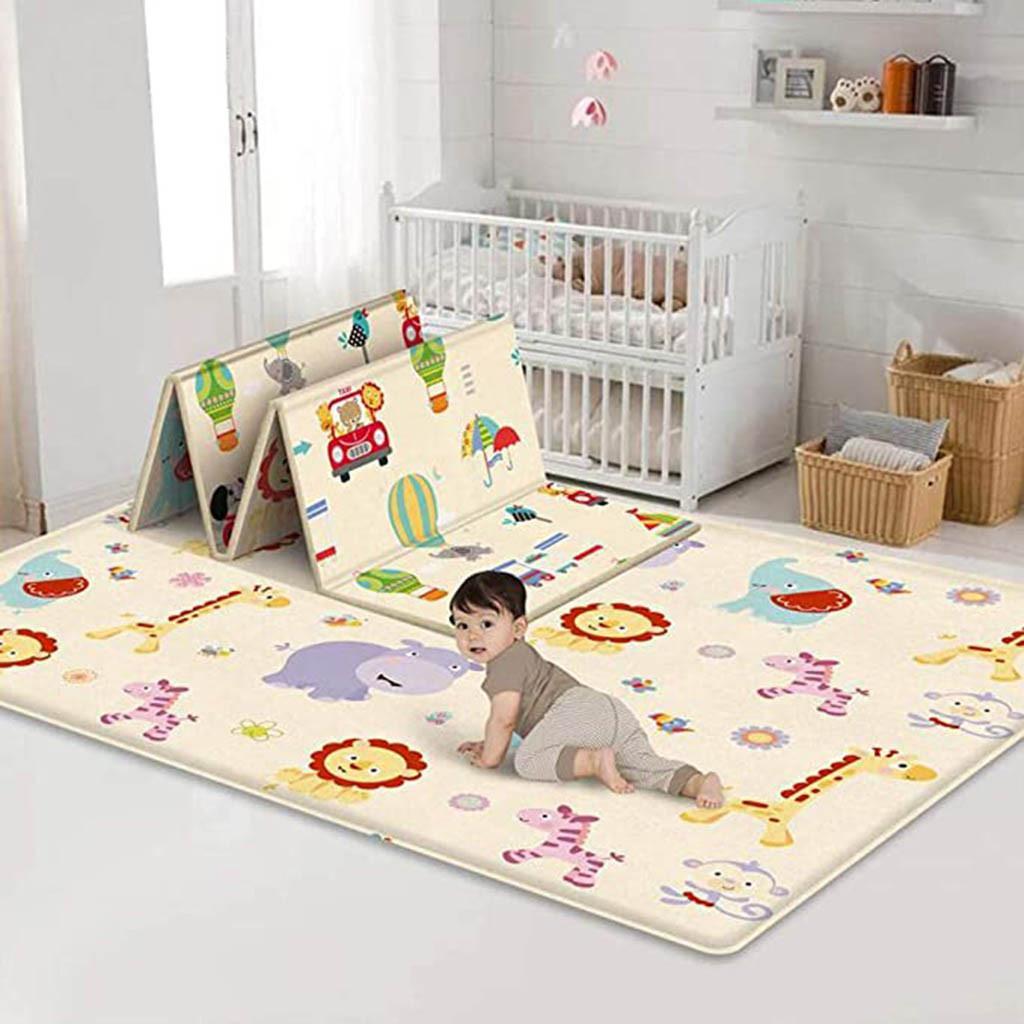 Baby Play Tapis Étanche LDPE Soft Soft PLAYMAT PLIENTABLABLE CROUWLING TAPIS KID JEU D'ACTIVITURE Couverture pliante Réversible # F5 LJ201128