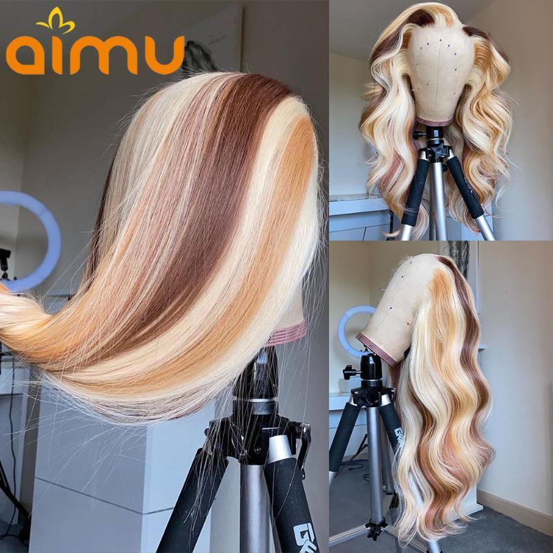 613 Souligner les perruques de cheveux humains Prépuré HD Transparent Weave Weave Remy Perruques frontales pour femmes noires 250 Fermeture de densité